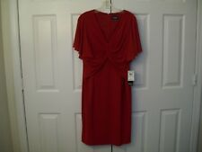 Adrianna Papell lined red polyester stretch dress size 14 NWT