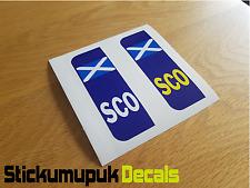 Pair of Scotland Flag Car Number Plate Vinyl Stickers UK legal Peel & Stick