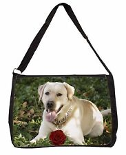 Yellow Labrador with Red Rose Large Black Laptop Shoulder Bag School/, AD-L48RSB