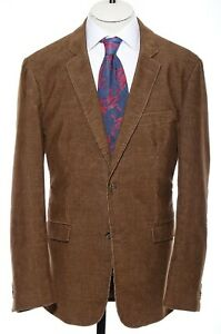 42R Pronto Uomo Blue Sport Coat Brown Corduroy Elbow Patches Blazer Jacket L
