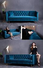 Designer Chesterfield Sofa Textil Blau Couch Polster Sofas Couchen Stoff Textil