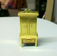 #AC-CK TIMEX VINTAGE COLLECTIBLE MINIATURE WARDROBE ARMOIRE SHAPED BRASS CLOCK