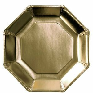 Gold Metallic Octagon Paper Plates - 23cm - Christmas Party