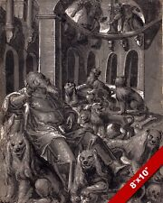 DANIEL IN THE LIONS DEN INK & WASH PAINTING BIBLE ART REAL CANVAS PRINT