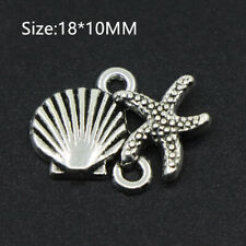 13PCS Tibetan Silver Starfish Shell Pendant Charms Bracelet Beads Crafts 18*10MM