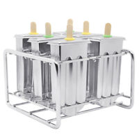 6pcs Stainless Steel Molds Ice Pop Lolly Popsicle Ice Cream Stick Holder Tools
