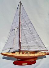 """America's Cup William Fife Nature Finish 24"""" Handmade Wooden Sailboat Model"""