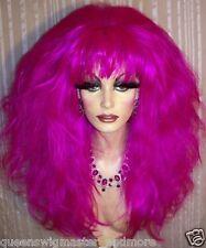 Drag Queen Wig Big Teased Big Fuchsia Purple Long Curls and Waves Bangs