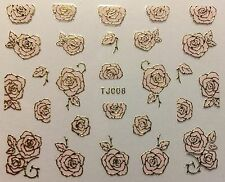 Nail Art 3D Decal Stickers Metellic Pretty Rose Flower Gold & Pink TJ008