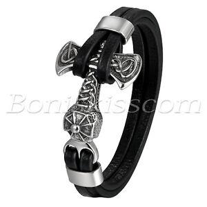 Men Stainless Steel Viking Thor's Hammer Multi-layer Black Leather Bracelet Cuff