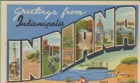 Vintage Antique Indiana IN Postcard Big Large Letter Greetings Indianapolis 1953