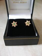 PAIR OF 18 CARAT GOLD EMERALD & DIAMOND CLUSTER EARRINGS MADE IN UK BRAND NEW
