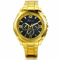 New Luxury Men Fashion Gold Tone Analog Quartz Stainless Steel Wrist Watch