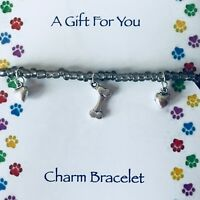 New Dog Lovers Bracelet ~ Gift idea ~ Beaded with Bone and Love Heart Charm