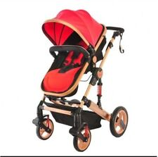3 In 1 Baby Stroller Lightweight Aluminium Alloy Frame, Adjustable Canopy - Red