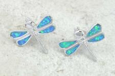 ELEGANT STERLING SILVER OPAL DRAGONFLY STUD EARRINGS  style# e0600