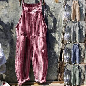 Womens Summer Casual Basic Type Stripe Wide Leg Jumpsuit