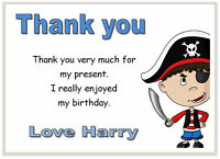 10 Personalised THANK YOU CARDS , thanks, boys birthday party PIRATES pirate