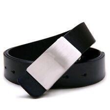 Hommes Faux cuir reglable Alliage Boucle ceinture noir O2A5