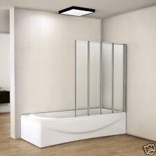 Hot 900x1400mm 4 Fold Folding Shower Bath Screen Glass Door Panel Matt Silver