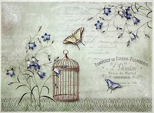 Rice paper -Butterflies and a birdcage- for Decoupage Scrapbooking Sheets