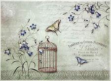 Papel De Arroz-Mariposas y una jaula para PÁJAROS-Para Decoupage Scrapbooking Hoja