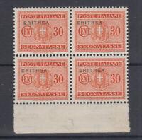 COLONIE ERITREA 1934 SEGNATASSE QUARTINA 30 C. VARIETA' N.30c G.I MNH**