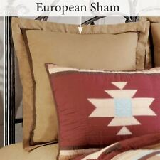 BROWN STRIPE EURO SHAM : CANYON LODGE CABIN CREAM COUNTRY PILLOW COVER