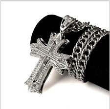 Men's Stylish Design Cross Clear CZ Iced Pendant Silver Chain Hip Hop Necklace