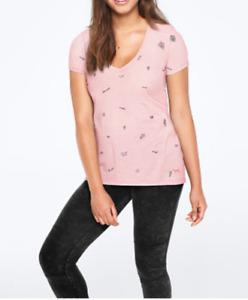 Victoria's Secret Rosa Perfecto Pico Camiseta Girly Logo Grande L Camisa Top