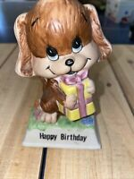 Vintage 1979 Russ Berrie Porcelain Ceramic Happy Birthday Dog Figurine