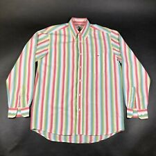 Lacoste Button Down Shirt Oxford Mens 40 Striped Pink Blue Green Long Sleeve