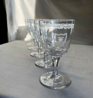 American Brilliant Cut and Monogrammed wine/cordial crystal glasses.FIVE 1920s.