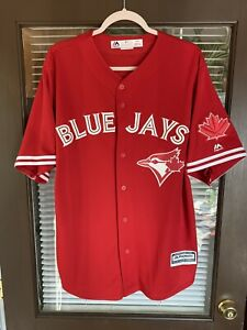 Vintage Toronto Blue Jays #6 Hunt Canada Day All Red Jersey MLB Majestic RARE