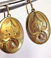 Antique Victorian Dutch 18K Gold Engraved Seed Pearl Front Opening Earrings