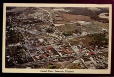 EMPORIA VA early Aerial View Railroad Station Town postcard