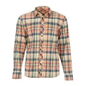 SALE Simms Stone Cold LS Shirt Smoked Salmon Madras Plaid Med NEW FREE SHIPPING