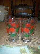 Four Vintage Libbey Juice Glasses W. Cherries EC