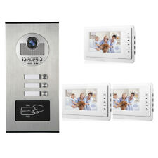 Apartment Wired Video Door Phone RFID HID Audio Visual Intercom System 3 Units
