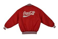 Vintage Coca Cola Delong Red Nylon Chain Link Embroidery Bomber Jacket L NWOT