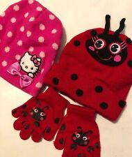 Nwot Girls Knit Beanie Hat Gloves Lady Bug Bonus Hk 4 6 8