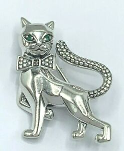 Brosche Katze   Smaragd & Markasit      925er Silber  JLo
