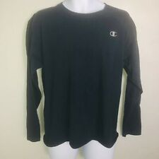 Champion Mens Shirt sz L Navy Blue Long Sleeve Casual Crew Neck Work Top My53
