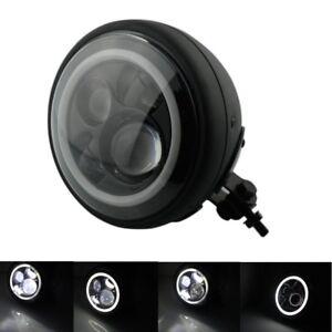 "Black 8""Round Projector Angel Eye HID Hi/Lo LED Headlight For Harley-Davidson"