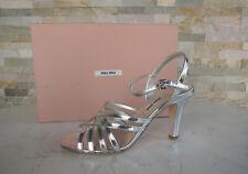 luxus MIU MIU Gr 37 Sandaletten High Heels Schuhe silber NEU UVP 550 €
