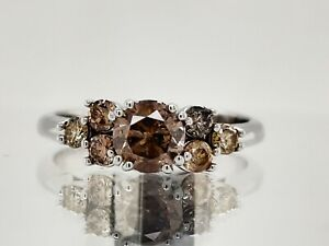 1.05Ct Champagne Natural Diamond Ring Sterling Silver See Video