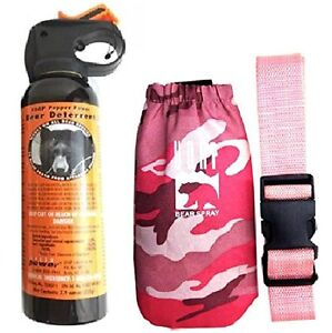 UDAP Pepper Power Bear Spray Repellant w/ Pink Camouflage Camo Holster and Belt