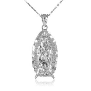 14k White Gold Blessed Our Lady Virgin Mary Virgen Maria Guadalupe Necklace