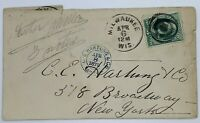 1876 MILWAUKEE WISCONSIN COVER TO NEW YORK WITH CE HARTUNG & CO. CANCEL