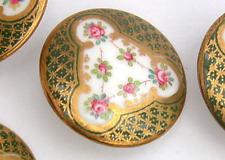 Antique Porcelain Button…WEDGWOOD...Back Marked…Intricate Design w Pink Rosebuds